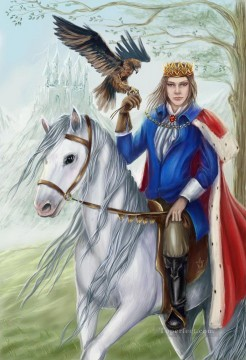the prince on white a horse Oil Paintings